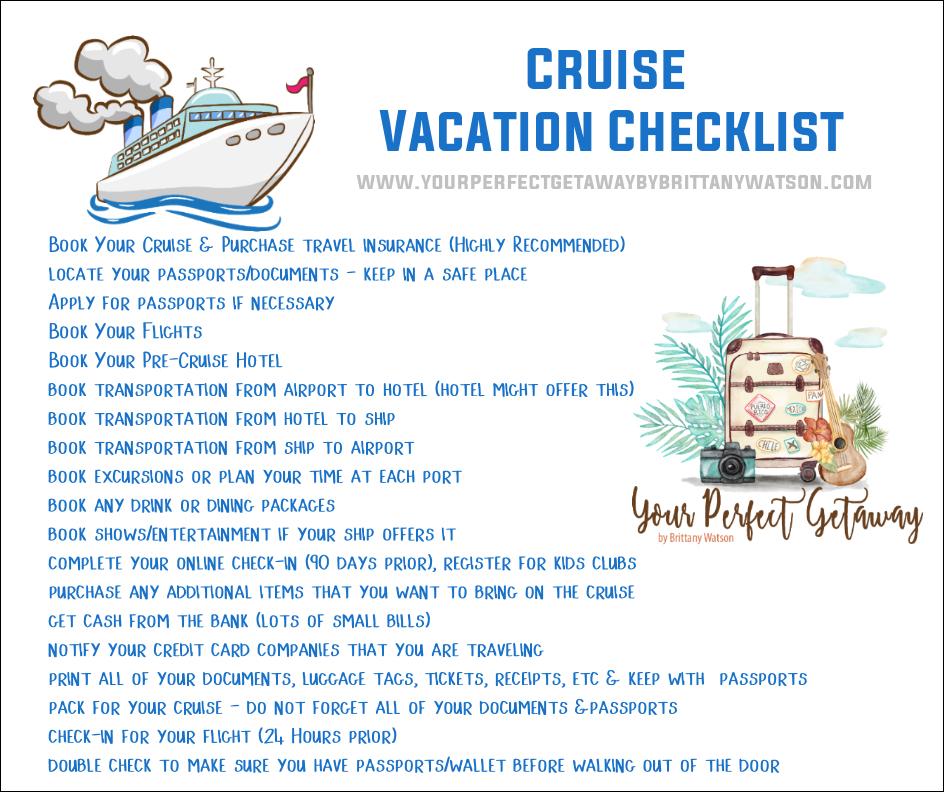 Cruise Vacation Checklist update